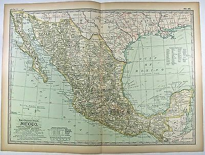 Original 1897 Map of Mexico by The Century Company