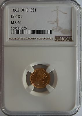 1862 DDO FS-101 G$1 NGC MS61- Rare and very obvious double die variety