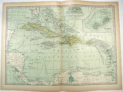 Original 1897 Map of The West Indies by The Century Company