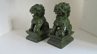 Fine Pair of Antique Chinese Spinach Jade Foo Dogs