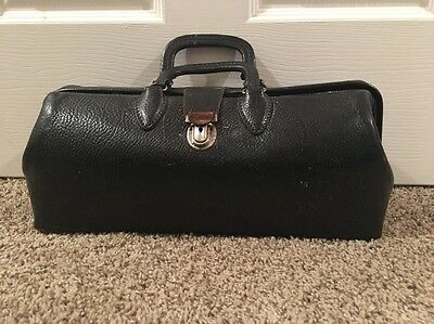 Antique Black Leather Doctors Bag Kruse Cowhide
