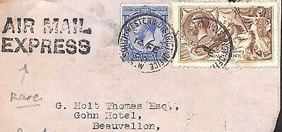 MS2181 1920 GB *AIR MAIL EXPRESS*Handstamp Front London SEAHORSE FRANKING France