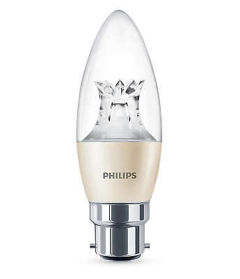 60 x Philips Warmglow LED B22 Bayonet 40w Dimmable Candle Light Bulb 470lm white
