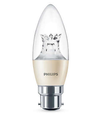 100x Philips Warmglow LED B22 Bayonet 40w Dimmable Candle Light Bulb 470lm white