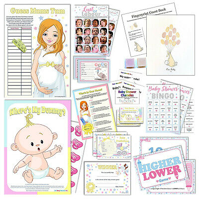 UNISEX BABY SHOWER GAMES - Active,Quiz,Predictions,Bingo,Charades,Scratchcards