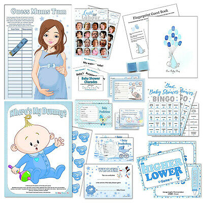 BLUE BABY SHOWER GAMES- Active,Quiz,Predictions,Bingo,Charades,Scratchcards Boy