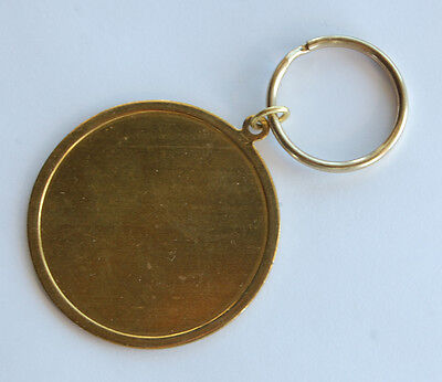 VINTAGE SOLID RAW BRASS LARGE BIG DISC KEY CHAIN BLANK • 2&1/4 inches • ROUND
