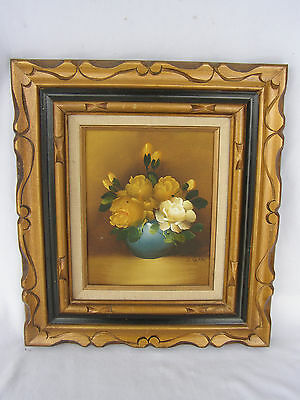 Vintage Framed Painting Oil On Canvas Signed J. Saras, Mexico, Floral