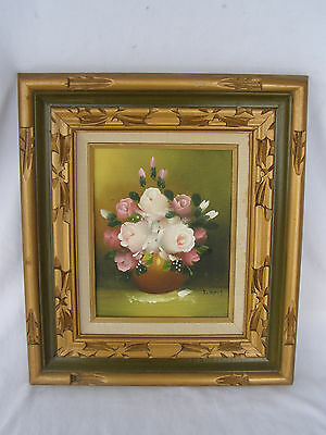 Vintage Framed Painting Oil On Canvas Signed, Floral, painted in Mexico