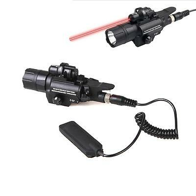 2 in 1 Tactical Torch+Red Laser Sight Flashlight 500 Lumen Outdoor LED Hunting