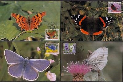 ISLE of MAN #1426-33 BUTTERFLIES MAXICARD SET of 8 DIFFERENT