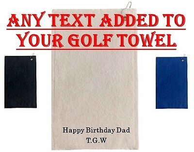Personalised Embroidered Golf towel + FREE BAG CLIP Corporate Gift Birthday
