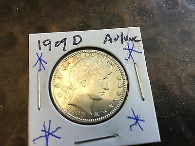 1909-D Barber Quarter - Flashy White Au/uncirculated