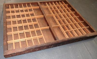 Vintage Wooden Typeset Shadow Box Drawer Printing Block LetterPress Tray 21.75""