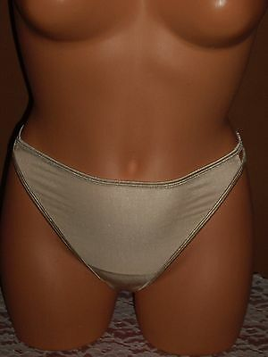 Vintage Lingerie Vanity Fair Nylon Double String Thong Panties Sz 5 Color Nude