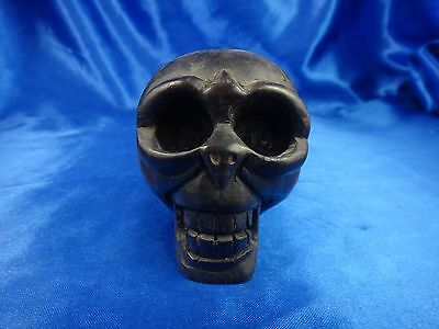 Vintage Asian Dark Wood Hand Carved Skull with Great Detail Unique Rare #3