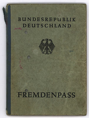 VERY NICE & RARE Fremdenpass BRD 1952 Alien´s passport germany many VISA