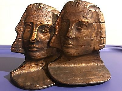 Vintage Art Deco EGYPTIAN SPHINX Cast Iron Bronze Bust Book Ends, Paperweights