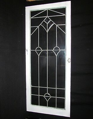 Antique Leaded Beveled Glass Wood Cabinet Door Window