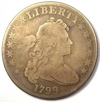 1799 Draped Bust Silver Dollar $1 - VG Details (Very Good) - Rare Type Coin!