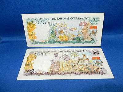 Set of 2 Bahamas Currency $1/2 & $1 Notes
