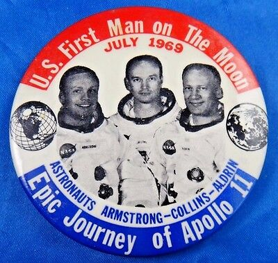 """First Man On The Moon 1969 Epic Journey of Apollo 11 Pin Pinback Button 3 1/2"""""""
