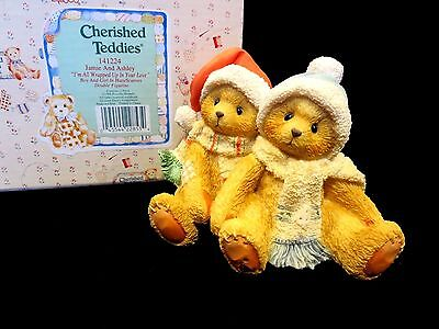 """Cherished Teddies JAMIE & ASHLEY """"I'm All Wrapped Up In Your Love"""" MINT 141224"""