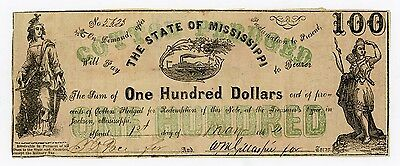 1862 Cr.14 $100 The State of MISSISSIPPI Note - CIVIL WAR Era