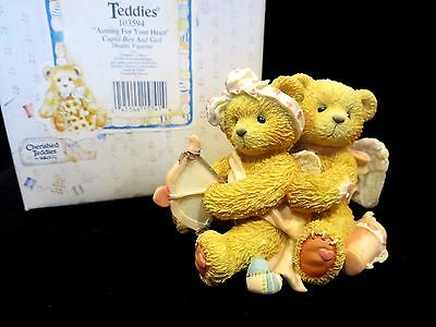 """Cherished Teddies Cupid Boy & Girl """"Aiming For Your Heart"""" MINT 103594"""
