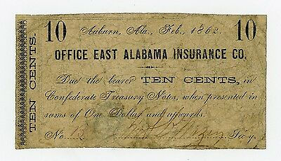 1862 10c The Office East Alabama Insurance Co. - ALABAMA Note CIVIL WAR Era