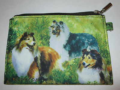 Sheltie Dogs Coin Purse Makeup Zippered Pouch Fully Lined New Shetland Sheepdog