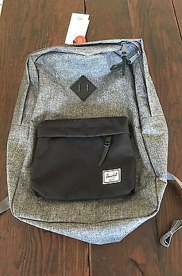 Herschel Supply Heritage Raven Backpack NWT Gray With Black