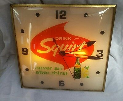 Vintage Pam 1965 Squirt After Thirst Lighted Advertising Bubble Clock Sign USA
