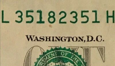 $1 Frn ~Rare! ~Signature Error ~Overinked ~Bookend Note ~Serial # L 351 82 351 H