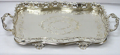 Topazio Sterling Silver Serving Tray W/ Ornate Handles