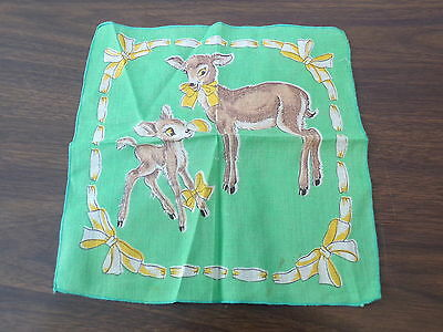 Vintage Child's Hanky Handkerchief Bambi Mamma Deer And Fawn