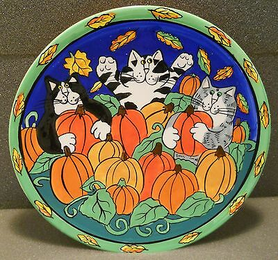 "Catzilla Candace Reiter Handpainted 8"" Plate Retired 2001 Cats in Pumpkin Patch"