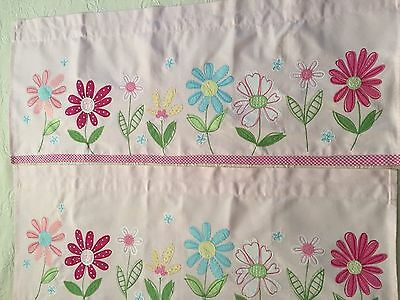 """TWO POTTERY BARN KIDS Pink and Gingham  DAISY GARDEN VALANCES  44"""" x 18"""""""