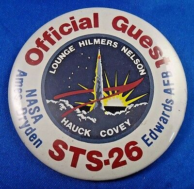"""Official Guest STS-26 Ames Dryden Edwards AFB NASA Space Pin Pinback Button 3"""""""