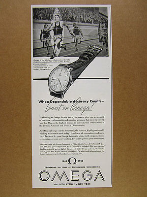 1948 Omega AUTOMATIC Watch wristwatch illustration art vintage print Ad