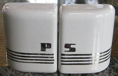 Art  Deco Salt & Pepper shakers with chrome or silver stripes