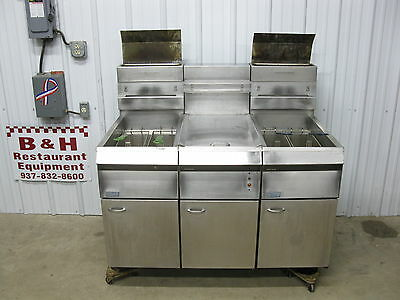Pitco F14-2-S Double Banked Twin Gas Deep Fryer w/ Dump Station, Filter
