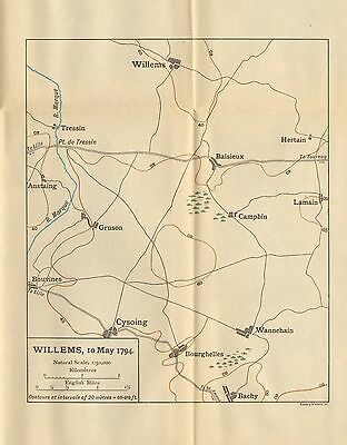 MAP/BATTLE PLAN ~ WILLEMS 10th MAY 1794 ~ GRUSON CYSOING BAISIEUX TRESSIN etc