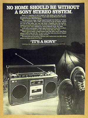 1978 Sony CF-520 CF520 Boombox Portable Stereo photo vintage print Ad