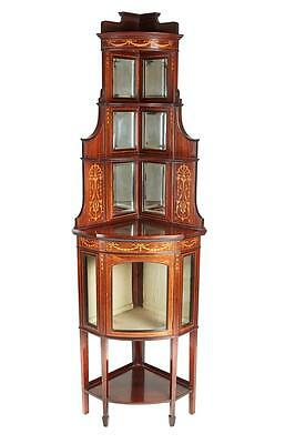 Late 19Th Century Inlaid Mahogany Corner Cupboard