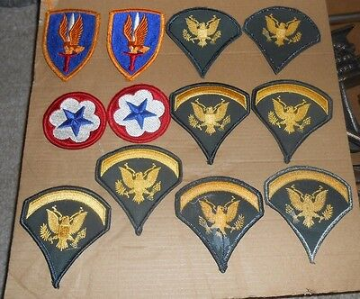 Mixed Lot Of 12 Vintage Us Military Patches Ww11 Army Service & Other