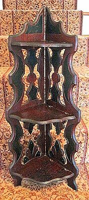 Antique Victorian Two Tone Three Tier Standing/hanging Walnut Corner Shelf