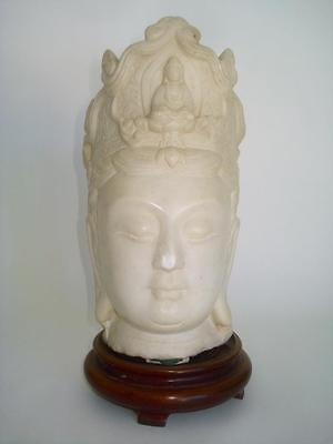Antique Chinese Carved White Marble Bust Kwan Yin Tang Style Qing Dynasty
