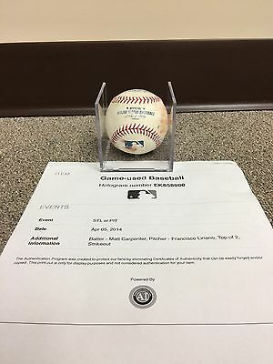 Francisco Liriano Pittsburgh Pirates Game Used Baseball 2014, Strikeout