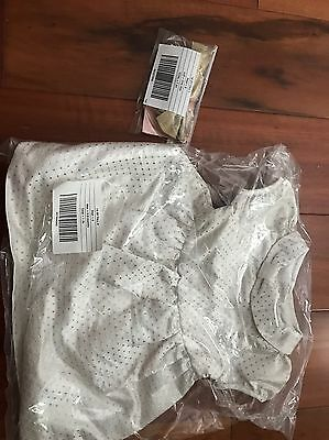 NWT Gymboree Baby Girl 0-3 Months Gold White Polka Dot Dress Gold Headband